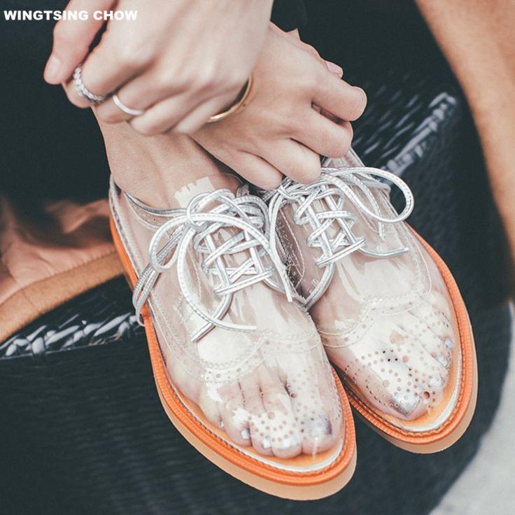 2017 Летние Дышащая Женская Обувь Прозрачные Акцентом Обувь Женщин Плоским Моды Платформа Оксфорд Обувь Для Женщинкупить в магазине YiLuo StoreнаAliExpress