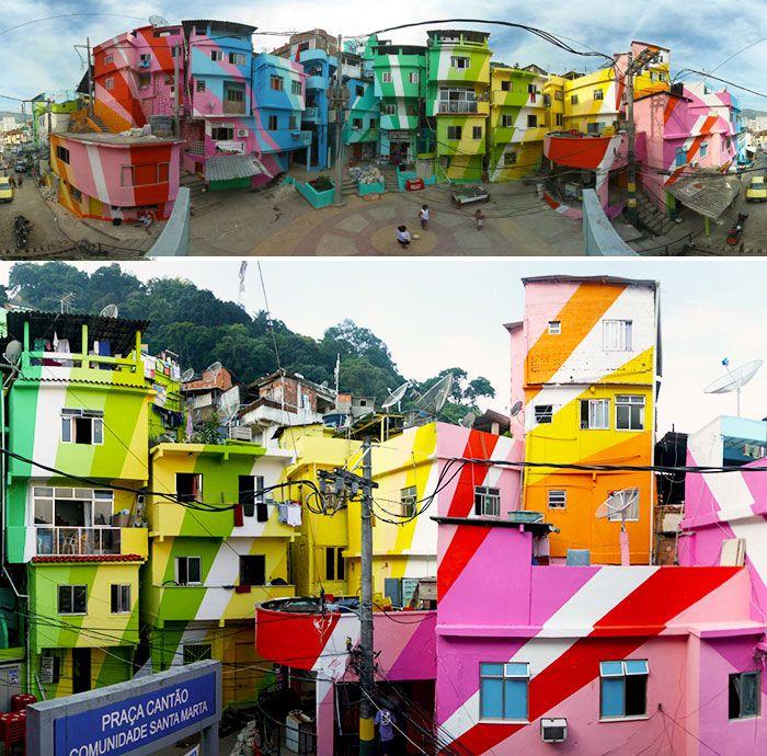 Painted #Favela In Santa Marta, Rio De Janeiro, Brazil.  #travel #inspiration #colorful #RioDeJaneiro
