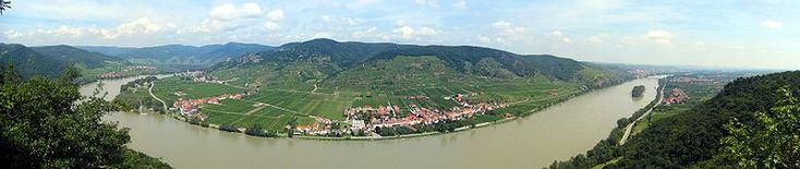Danube in the Wachau valley. Krems on the far right, Austria