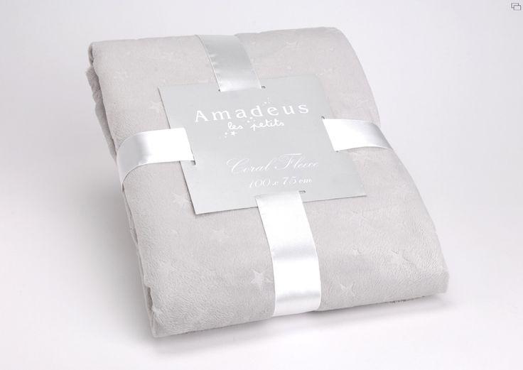 Plaid Amadeus étoiles gris 100 x  75 sur lmladeco.com