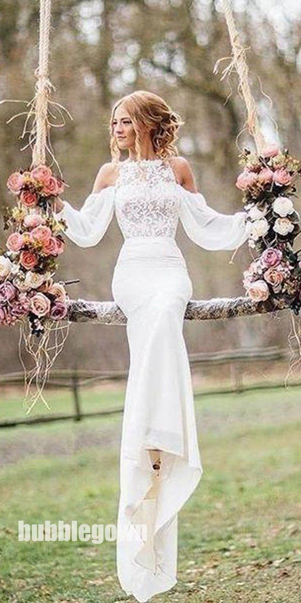 Affordable Unique Design Lace Top Long Sleeves Mermaid Long Wedding Dress, BG515…