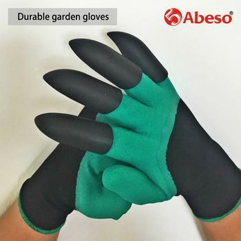 Abeso latex garden gloves with 4 ABS Plastic Claws for garden Digging Planting working protective 1 pair Drop A4006  Price: 2.23 USD #gardeninggloves