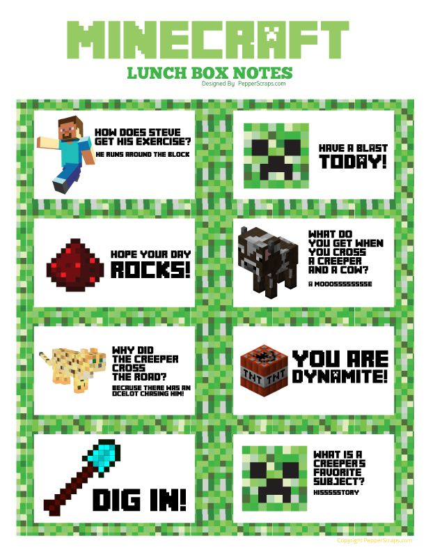 I love making things for my boys with themes that they love. That's one reason I made these little Minecraft Lunchbox Notes. I wanted to share them with you