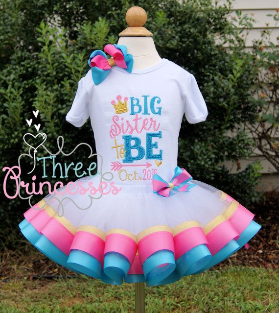 Big Sister Ribbon Tutu Outfit Gender Reveal by ThreePrincessBows #genderreveal