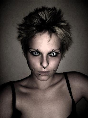 Dark, piercing, tattoo, black and white, b & w, Make up, weird, scary, obsessed, crazy, eyes, blonde, short hair, bones, stare