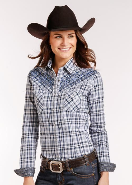 fd084f8eb15 Panhandle Women's Blue & White Plaid/embroidered shoulder R4S4245 in ...