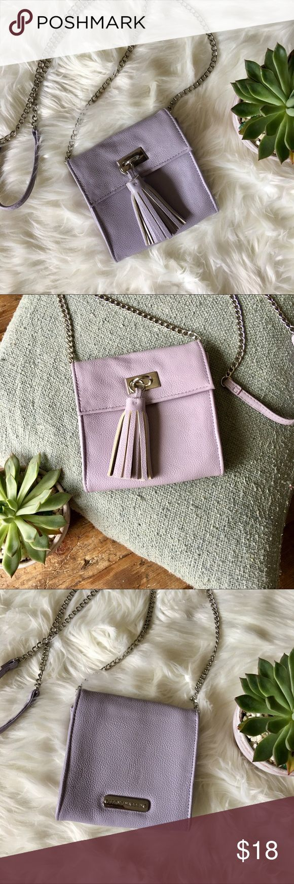 """Steve Madden Lavender Mini Crossbody Purse The palest of purples, adding just the right amount of zest to your attire 💜 Mini bag with pouches and zippers inside, a single tassel on the front magnet closure, chain strap with the same leather-like material accenting the ends of the chain near the shoulder. Measures about 6"""" x 5 1/2"""", with the chain extending about 26"""" from the body of the purse 👛 Steve Madden Bags Mini Bags"""