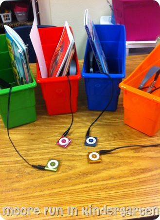 Listening stations. Would be good to have matching coloured boxes for each iPod to check them back in at the end of the lesson.