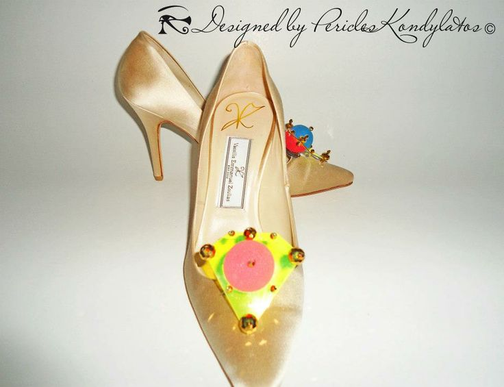 Kondylatos shoe ornaments - accessories  Vassilis Zoulias high heels decorated by Pericles Kondylatos brooches.