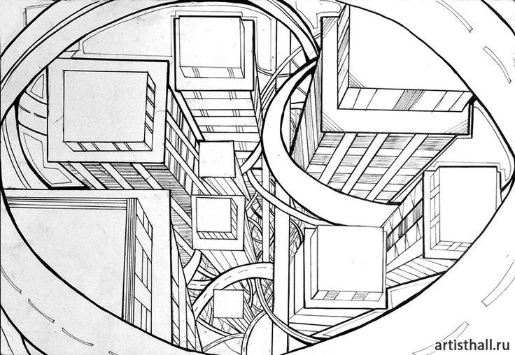 Вариант выполнения композиции в графике -2 #art #design #draw #композиция #графика #мегаполис #artworkshop #artisthall