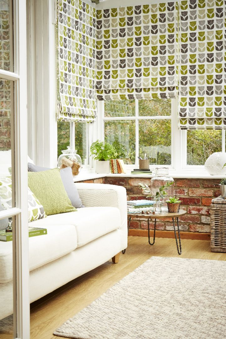Fun patterns can bring some character into a room use neutral matching accessories in different textures such as brick and wool to pull a look together. Made to measure Rayna Apple Roman blinds would look lovely great in living rooms and conservatories..