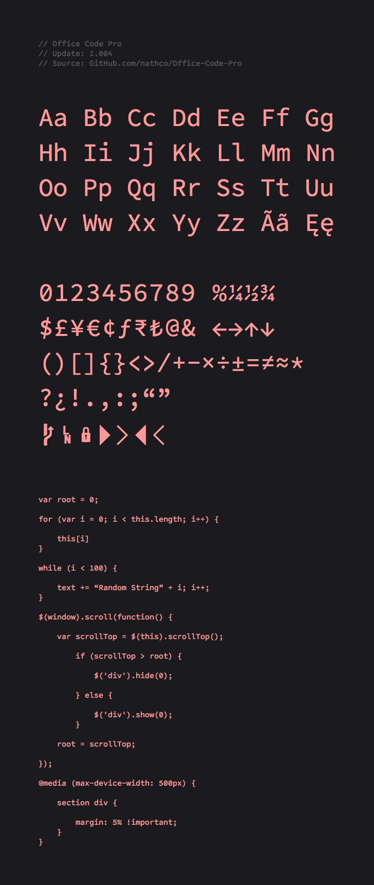 Office Code Pro is a customized version of Source Code Pro, the monospaced sans serif originally created by Paul D. Hunt for Adobe Systems Incorporated. The customizations were made specifically for text editors and coding environments, but are still very usable in other applications. #programmingfont