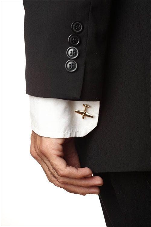 Men's Cufflinks: Handmade Airplane Cuff Links, Golden Airplane, Christmas gifts for Men.. $52.00, via Etsy.