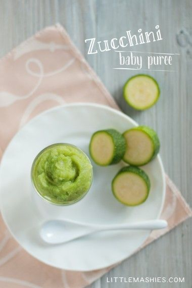 Baby food recipe Zucchini puree from Little Mashies reusable food pouches. For free recipe ebook go to Little Mashies website or Amazon