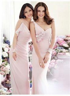 Perth Fashionable A-Line/Princess One-Shoulder Sleeveless Chiffon Floor-Length Bridesmaid Dress