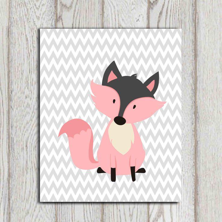 Pink Fox wall art Pink fox print Printable little Girls bedroom wall art Gray chevron Whimsical Nursery wall decor 11x14, 8x10, 5x7 DOWNLOAD by DorindaArt on Etsy https://www.etsy.com/listing/190863229/pink-fox-wall-art-pink-fox-print
