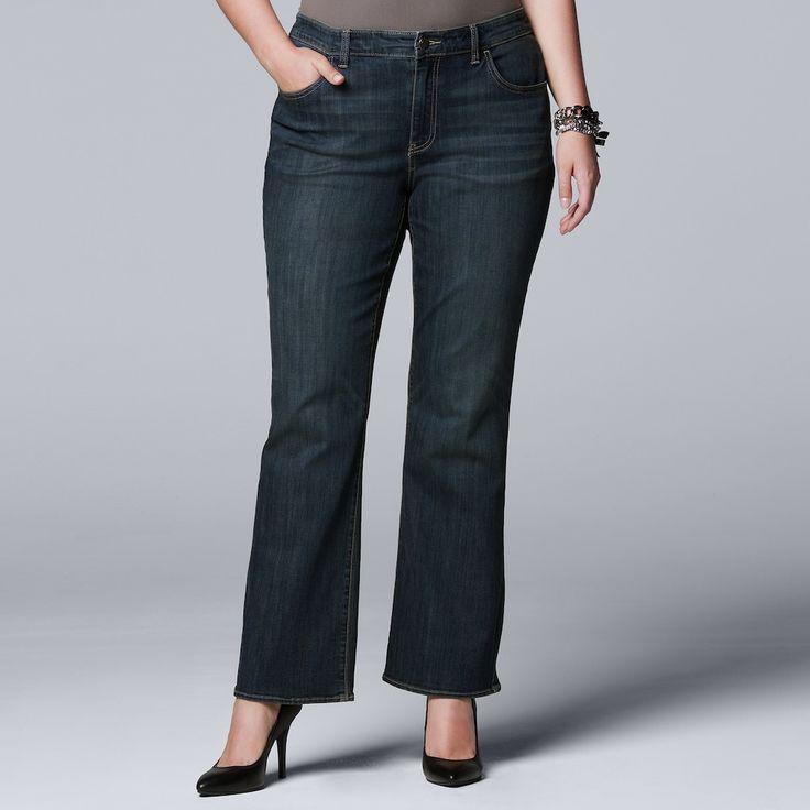 Plus Size Simply Vera Vera Wang Bootcut Jeans, Women's, Size: 20W Short, Med Blue