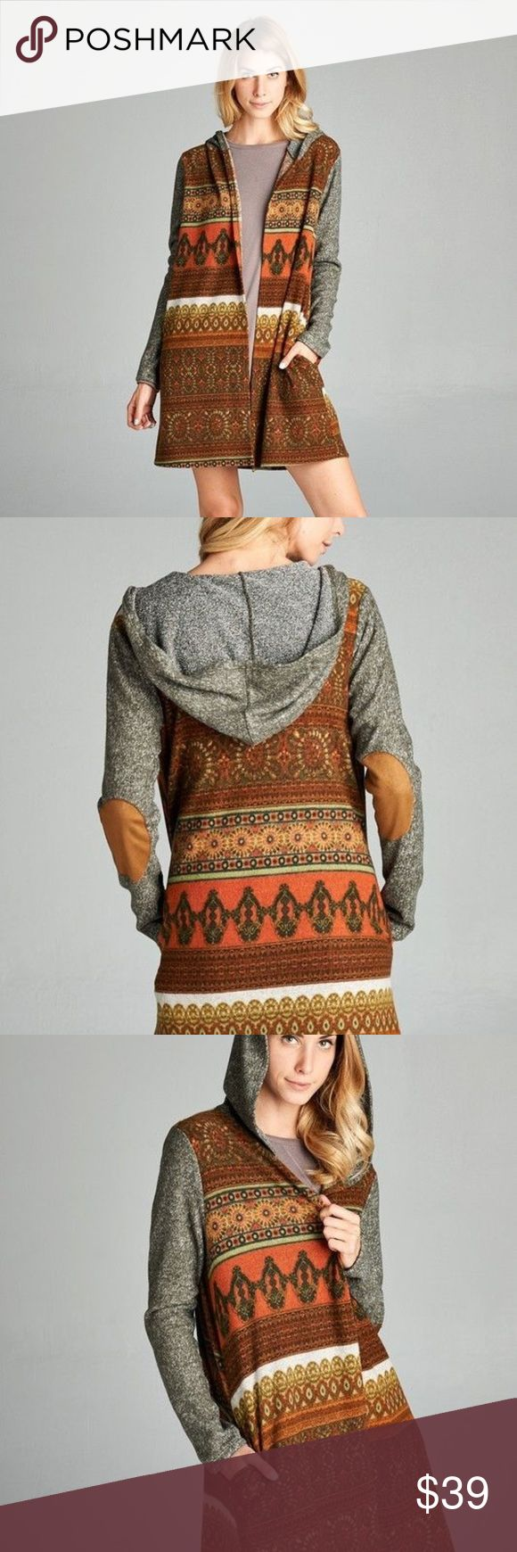 Ladies Rust Print Cardigan Olive Sleeves Rustic arabesque print brush hacci knit cardigan with long contrast mélange brushed sleeves and solid faux suede elbow patches. Our hooded duster comes with slit pockets to keep your fingers toasty. Great layering piece! Contrast: 96% Polyester, 4% Spandex Fabric 65% Polyester, 35% Rayon ODDY Sweaters Cardigans