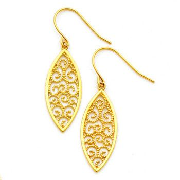 14K gold Filigree Marqui Earring FH Wire.