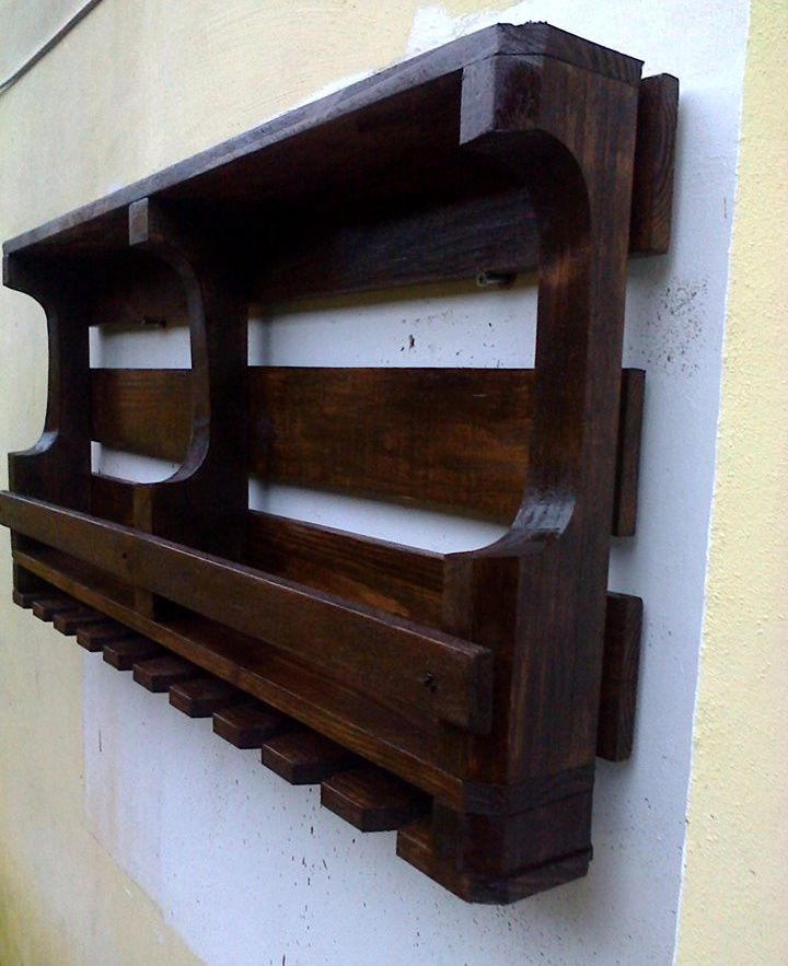 Pallet Wall Shelf with Glass Rack | 101 Pallets