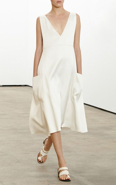 So elegant, simple — Doubleface Crepe Satin Apron Dress With Pockets by Derek Lam
