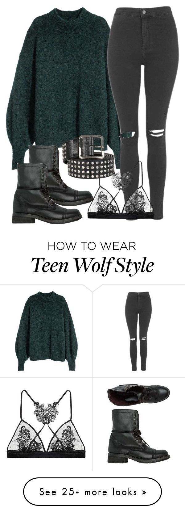 """Derek Inspired Outfit - Teen Wolf"" by clawsandclothes on Polyvore featuring Steve Madden, Topshop, Alexander McQueen and Fleur of England"