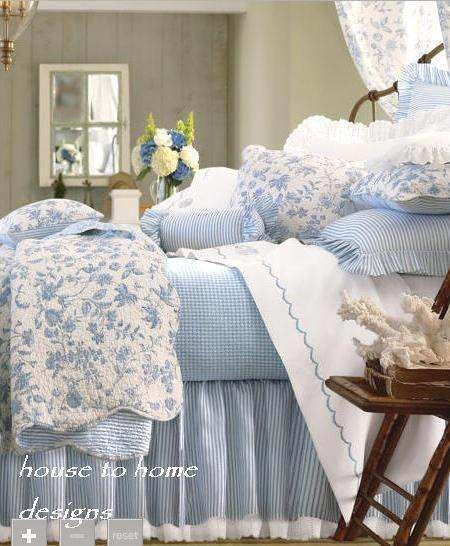 BRIGHTON BLUE Twin Full Queen or King QUILT : COTTAGE WHITE TOILE WILLIAMSBURG
