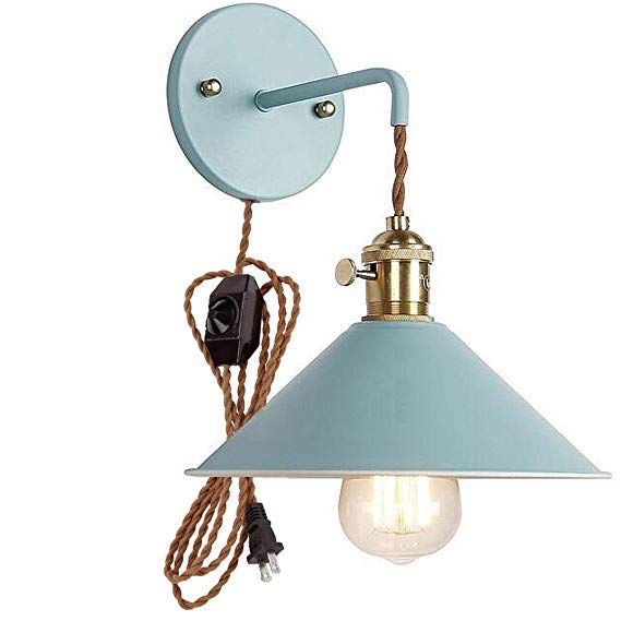 Kiven Nordic Wall Sconce One Cable Mains Plug And On Off Switch Pink Macaron Bedside Reading Light E26 Ediso Copper Lamps Sconce Lamp Bedside Lamp