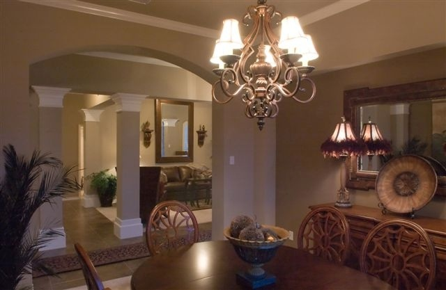 Kings Crossing Model By Braselton HomesDining Room Overlooking Living Area