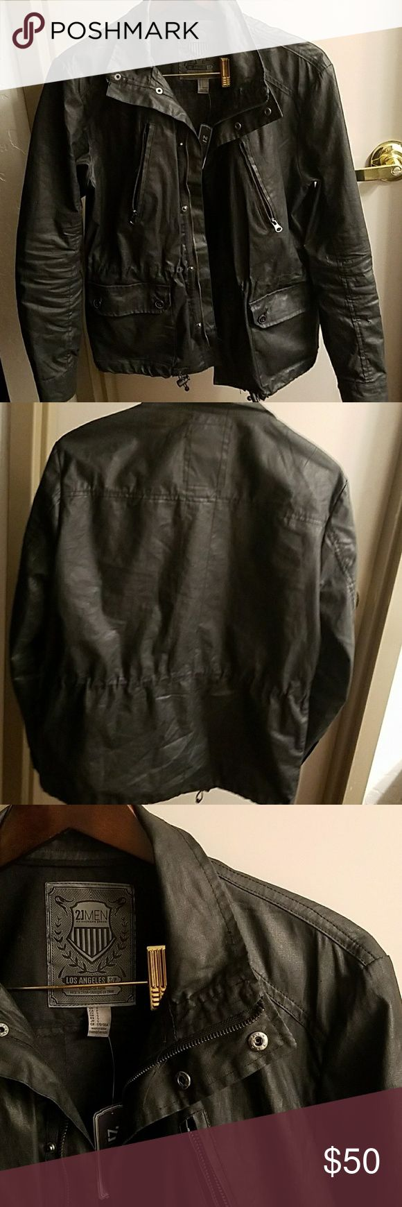 Waxed Outerwear Jacket Edgy Waxed jacket from 21 men's. Missing the zipper hood. Otherwise in great condition. With tags.  Says Small, but fits like a medium. 21men Jackets & Coats Military & Field