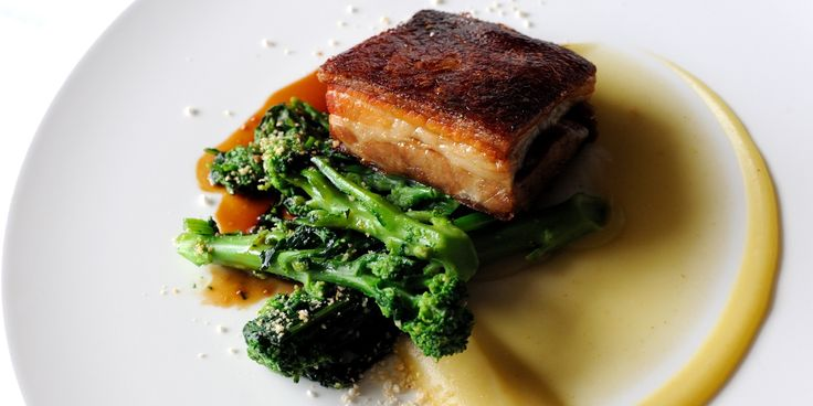 Simon Hulstone shares an indulgent pork belly recipe, pairing the cut with an apple sauce and purple sprouting broccoli