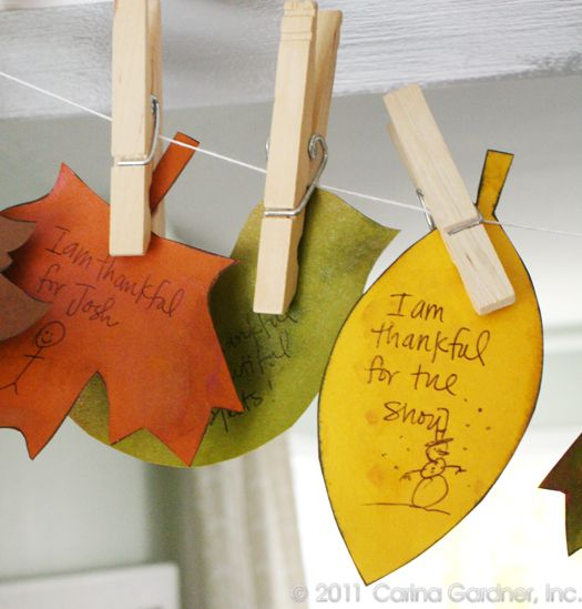 Thanksgiving Banner - add a leaf every day in November with something you're thankful for. Doing it.