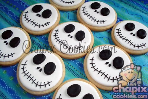 Halloween Cookie Idea.  Simple.  Looks like Jack Skellington, the nightmare before christmas-- skeleton cookies