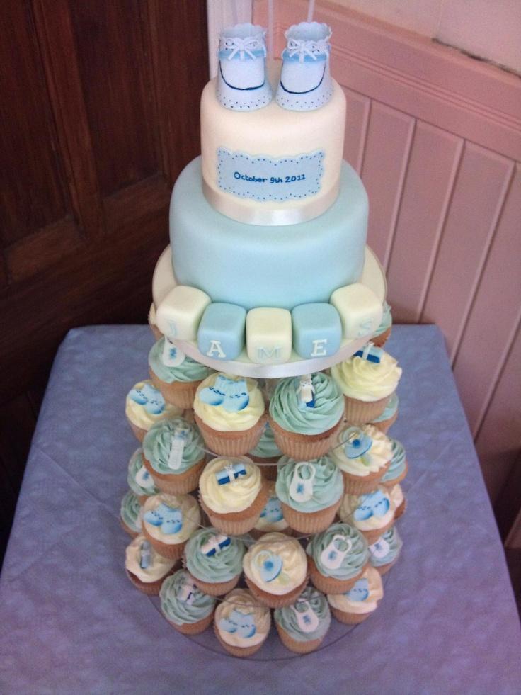 Boys christening 2 tier cake and cupcakes