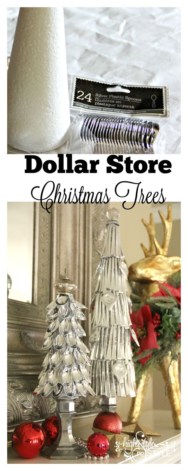 Have you ever come across a crafty idea that is so fantastic you immediately start planning ways to make your own version? That's what happened to me when I stumbled across a post by My Husband Has Too Many Hobbies on making Christmas trees out of plastic silver spoons. Such a simple, brilliant and beautiful holiday decoration on the cheap! I headed to the Dollar Tree to pick up supplies and the ideas were swirling with possibilities of variations. To make your own version(s), here's...