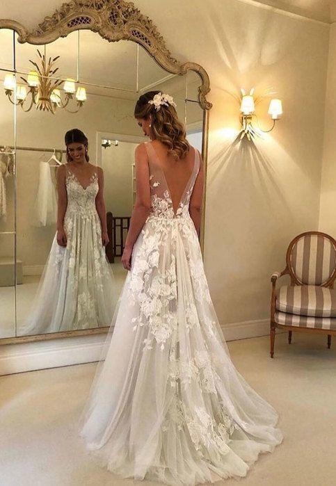Weißes Kleid mit V-Ausschnitt aus Spitze und Tüll, weißes Brautkleid – #aus #…
