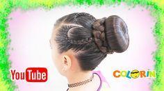 Peinado con Chongo/Dona con trenza de corazon/ 3 tipos de trenzas en 1/b...