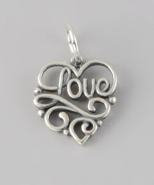 Share an open heart with this polished charm. The delicate cutout with ''love'' elegantly integrated into the swirling framework makes an understated way to add gleaming silver shine with sweet style to any look.