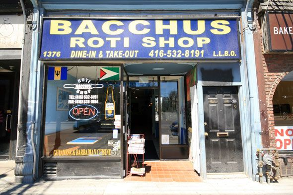 Bacchus Roti is an institution in Parkdale. It is located at 1376 Queen St. West. A long-time player on the roti scene, Parkdale based Bacchus is an understated boite that serves up tasty and cheap Guyanese and Barbadian cuisine. The specialty here is the vegetarian rotis, and the flavors are decidedly different that what can be found at spots further east along Queen such as Gandhi's or the Real Jerk.