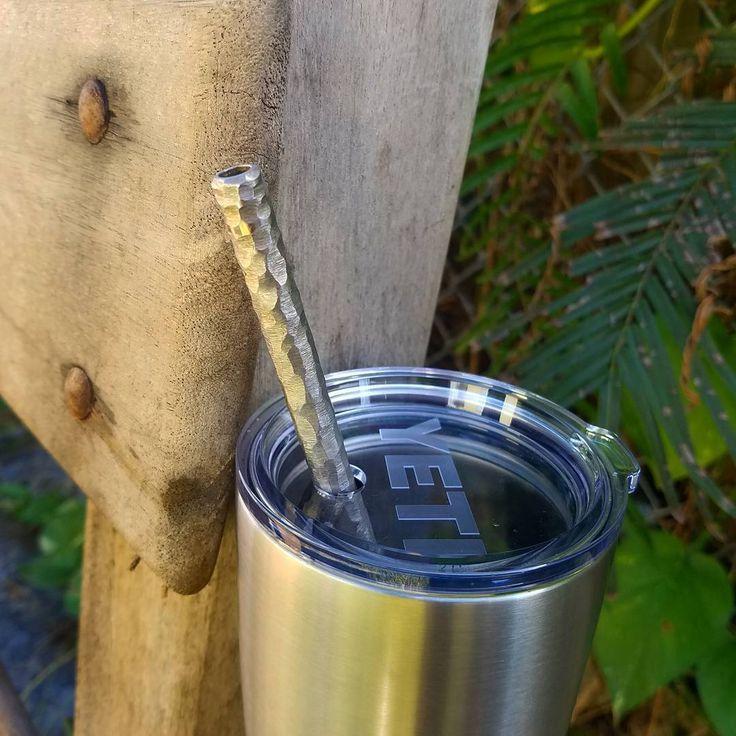 Textured titanium straw in a Yeti Rambler www.tisurvival.com #tisurvival #titanium #straw #edcgear #yetirambler #yeticoolers