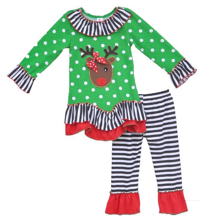 Рождество в стиле наряды оленей шаблон зеленая точка печать пуловеры полосатые брюки прекрасные дети костюм PSDJ02 дд