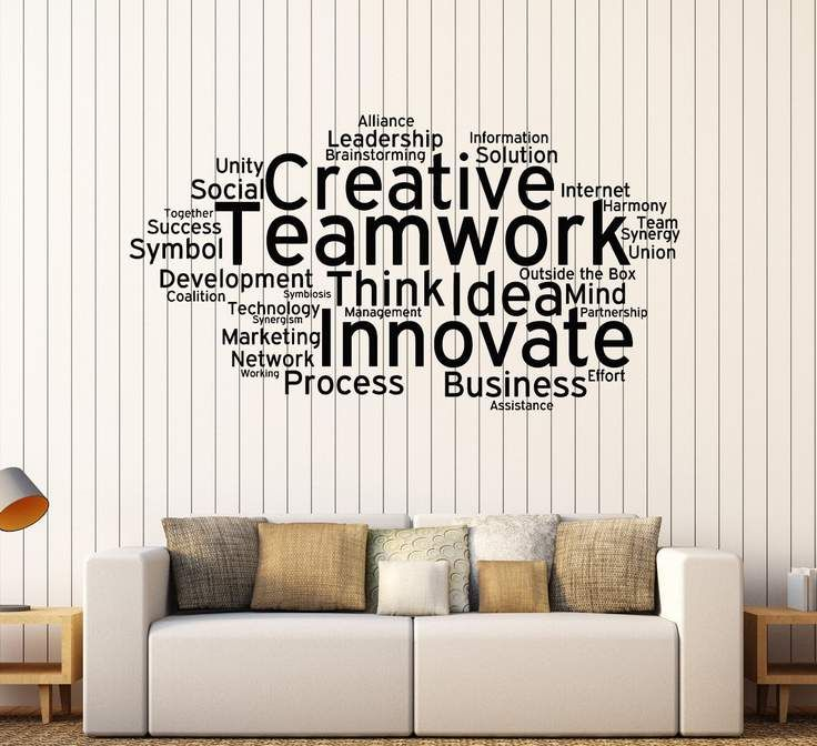 Vinyl Wall Decal Teamwork Cloud Words Office Decoration Stickers