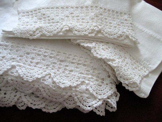 Vintage Crocheted Sheet Pillowcases White Cannon Trim