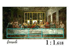 In Leonardo Da Vinci's Last Supper fresco, the Golden Ratio (rear wall and windows) and other relationships based on Fibonacci Numbers (foreground, table and disciple's feet) may be found in the relationship of elements in the composition.