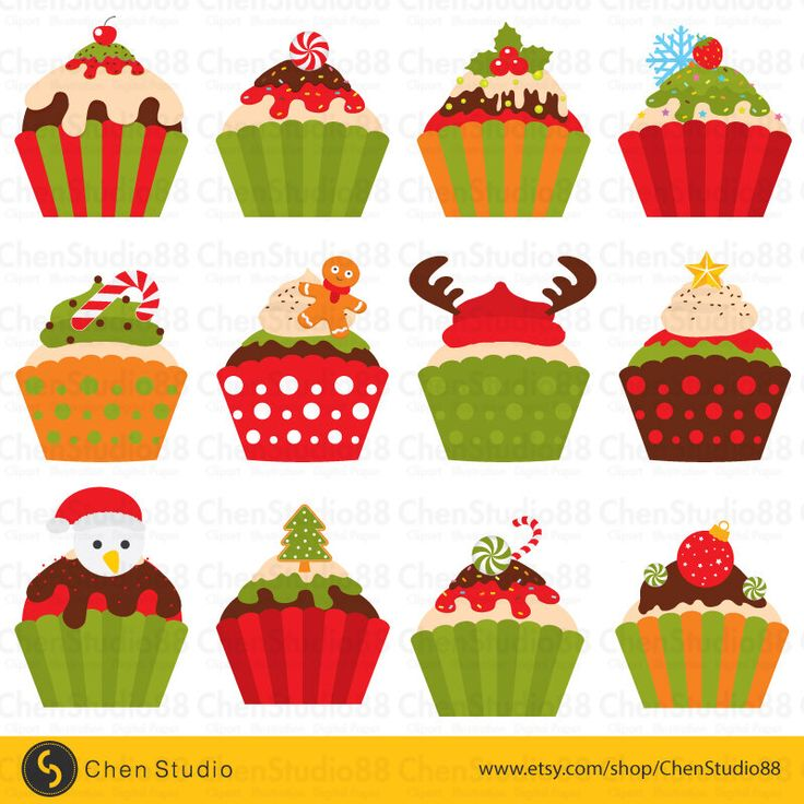 Christmas cupcake vector - Digital Clipart - Instant Download - EPS, PNG files included by ChenStudio88 on Etsy https://www.etsy.com/listing/254429680/christmas-cupcake-vector-digital-clipart