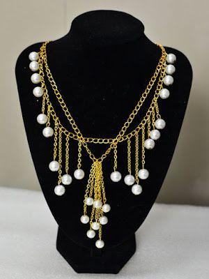 [BISUTERIA MANUALIDADES✄]DIY... Cómo hacer un collar de cadena del filamento doble de oro con borlas de la perla y Dangles