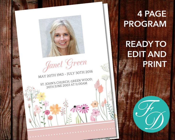 51 best Pink Funeral Program Templates images on Pinterest - memorial brochure template