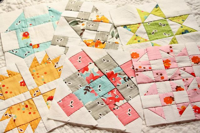 Blocks #1-6 for Hand Pieced Quilt-A-Long by Erin @ Why Not Sew? Quilts, via Flickr