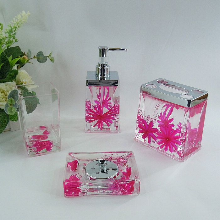Hot pink bathroom accessories dark pink floral acrylic for Red and white bathroom accessories