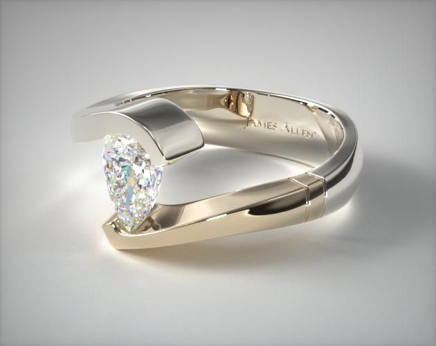 Tension Enement Rings | Two Tone Pear Tension Engagement Setting In 14k White Gold Yellow